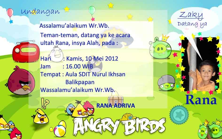 Contoh Undangan melengkapi Goody Bag Angry Birds