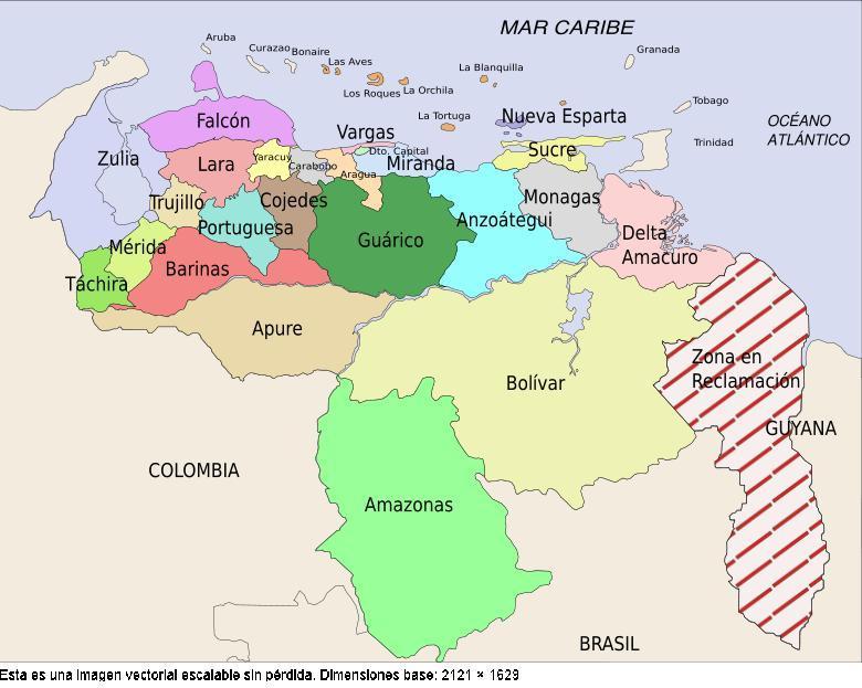 Mapa Politico de Venezuela   Estados de Venezuela