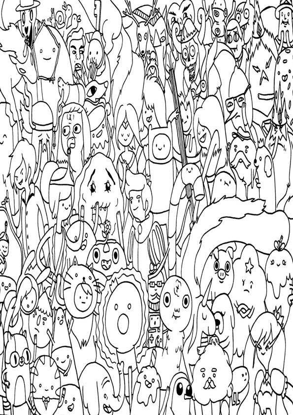 Personajes de horas de aventuras para colorear