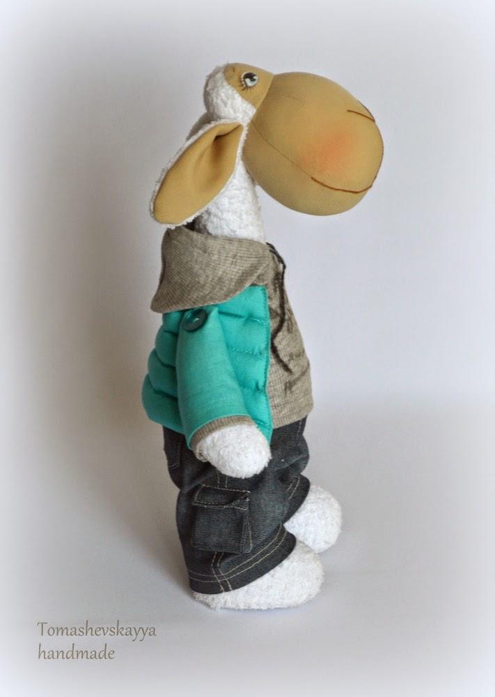 Текстильная игрушка овечка в джинсах