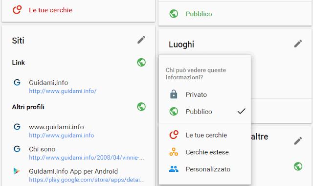 Google pagina Informazioni su di me visibilità info