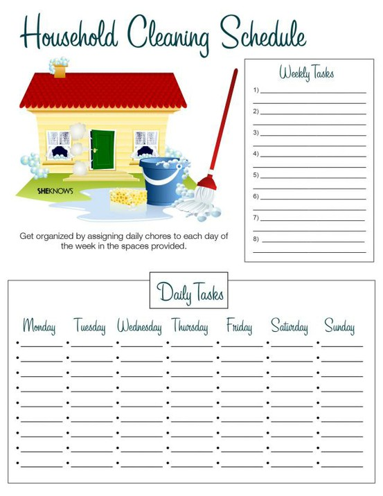 House Cleaning: Printable Monthly House Cleaning Schedule
