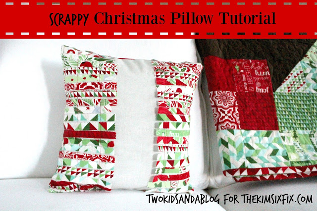 Creating this darling christmas pillow out of scraps of fabric.  A great way to create a custom christmas look on a tiny budget