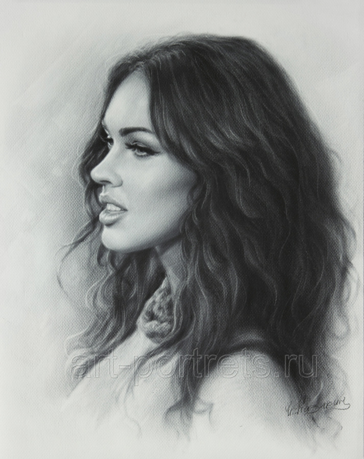 12-Megan-Fox-Igor-Kazarin-Painting-and-Drawing-Portraits-with-Dry-Brush-www-designstack-co