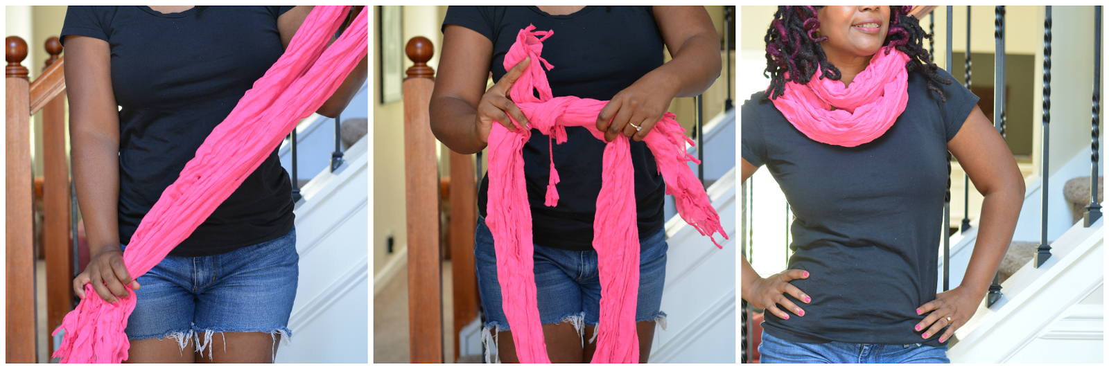tie a long scarf to wear as infinity scarf