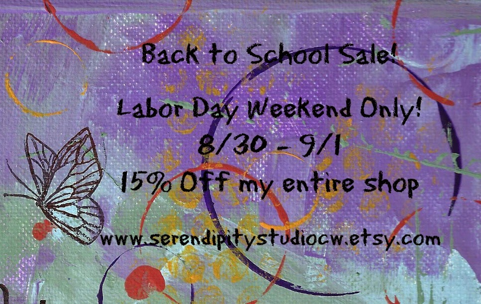 labor day sale, back to school sale, www.serendipitystudiocw.etsy.com, mixed media canvas, art prints, journals, note cards
