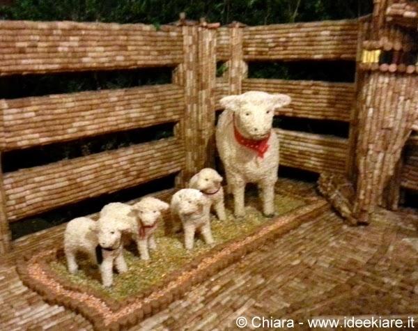 Pecore del presepe di tappi del ristorante Passone di Montevecchia