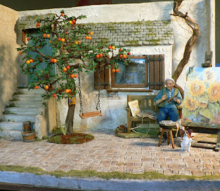 CDHM Gallery of Jeannette Buchholz of Garden of Miniatures makes 1:12 flowers, trees, fruit trees, and plants in dollhouse miniatures