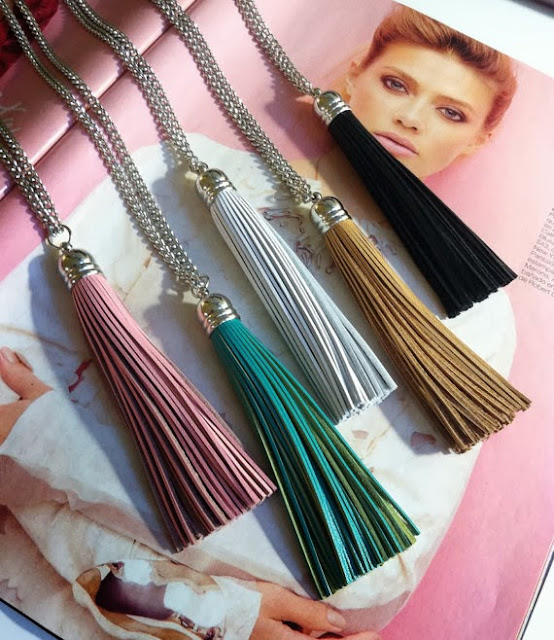 """Tassel"" Necklace. Made with real cowhide leather."