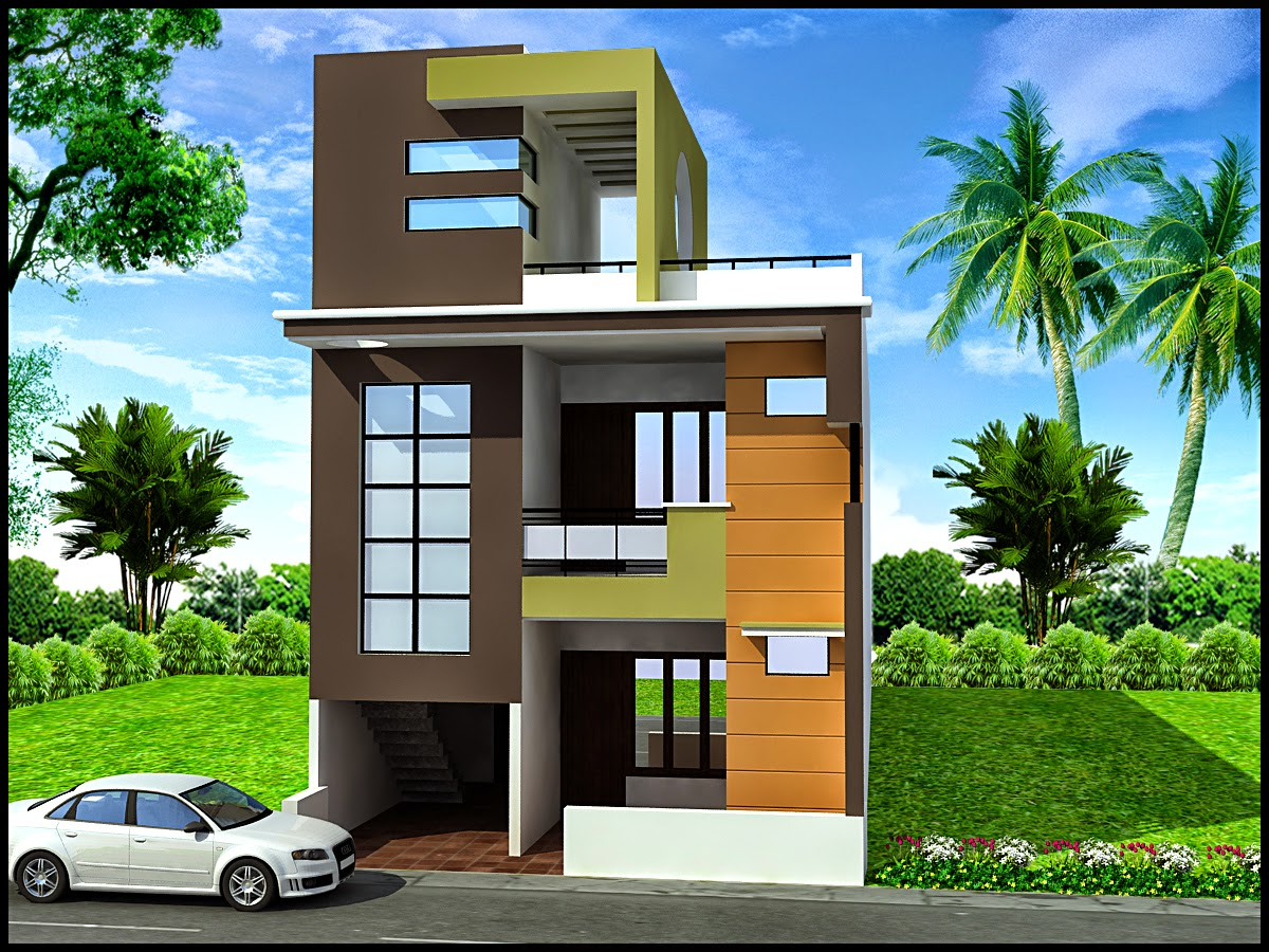 Front Elevation Of Triplex House : Ghar planner leading house plan and design