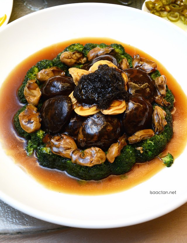 Braised Abalone, Dried Oyster, Sea Moss and Mushroom in Superior Oyster Sauce
