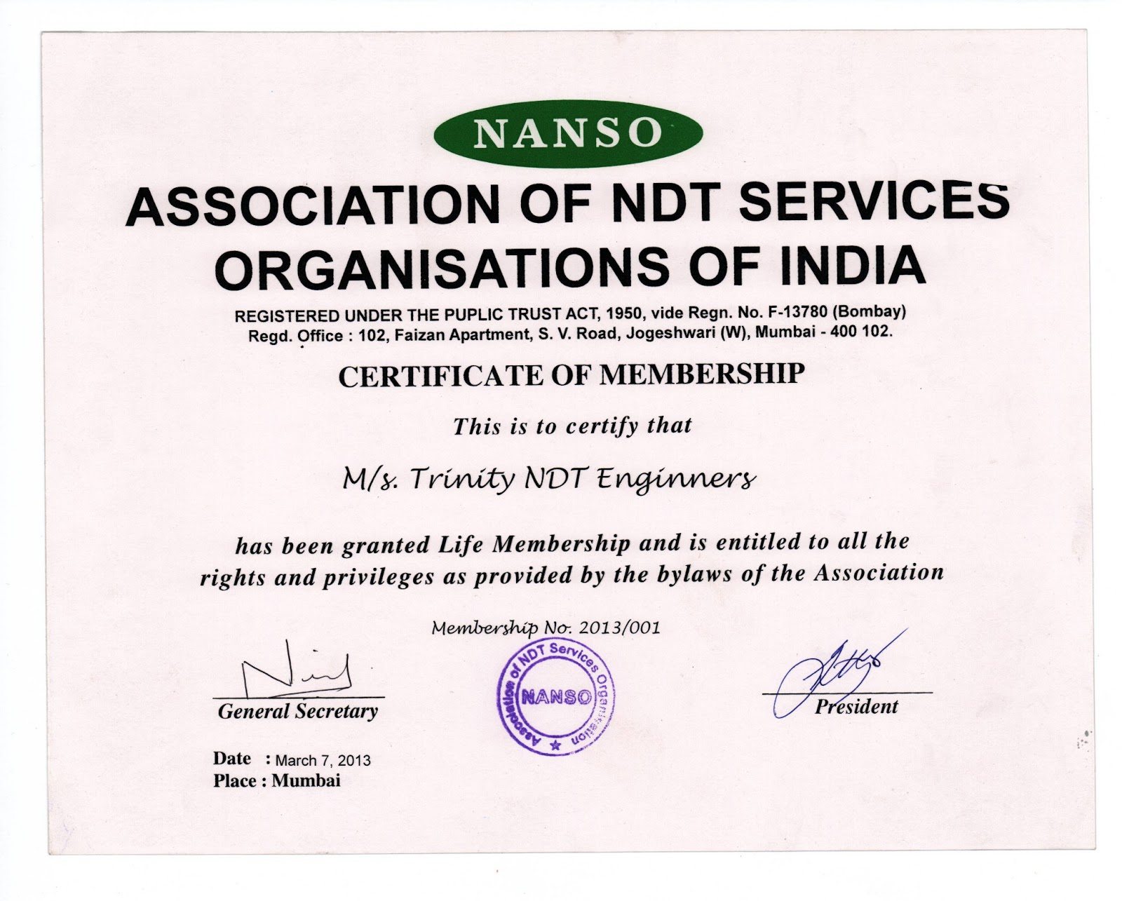 Ndt Training Trinity Ndt Is Now A Life Member Of Association Of Ndt