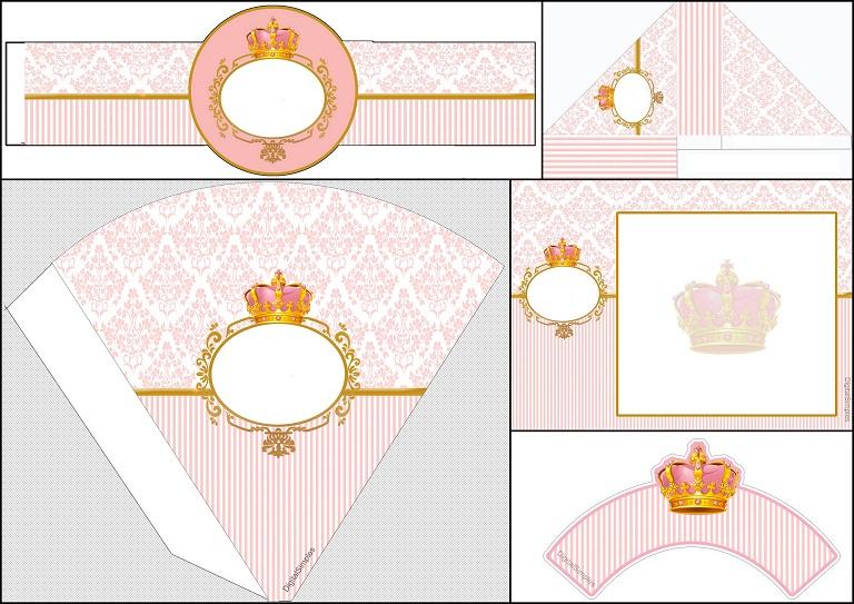 Decoracion Minie Dorada ~ Corona Dorada en Fondo Rosa Invitaci?n para Imprimir Gratis e