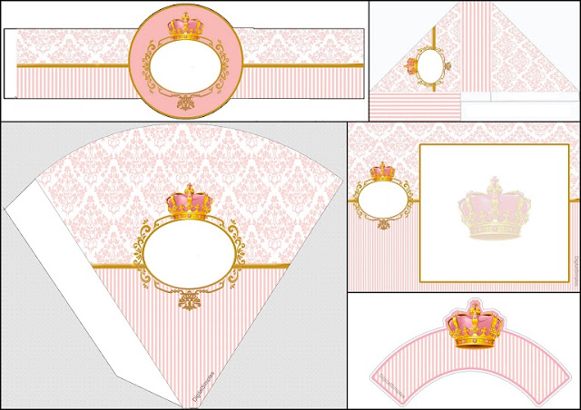 Corona Dorada en Fondo Rosa: Invitación para Imprimir Gratis e Imprimibles Gratis para Fiestas.