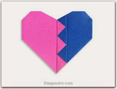 Cách gấp, xếp trái tim tan vỡ bằng giấy origami - Video hướng dẫn xếp hình trái tim quà tặng - How to fold a Break Heart