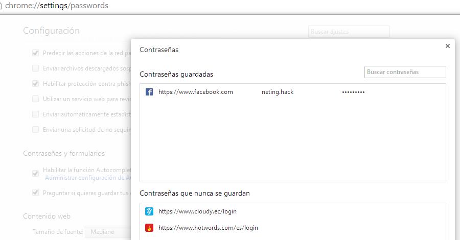ver contraseñas en Google Crome guardadas