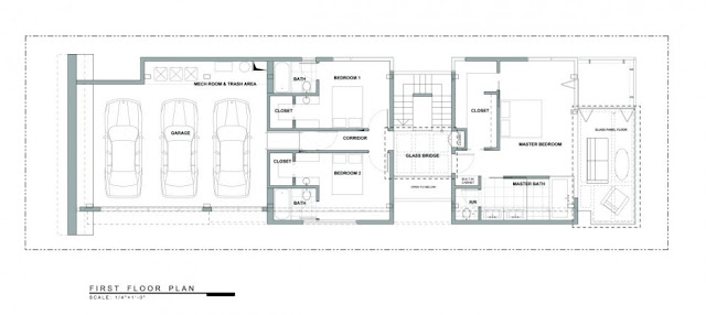 Ground level floor plan of the Modern Contemporary Ettley House
