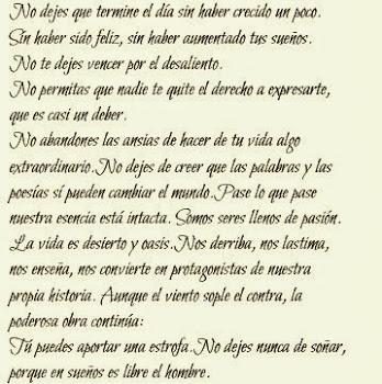 "(Fragmento de "" No te detengas"" de Walt Whitman)"
