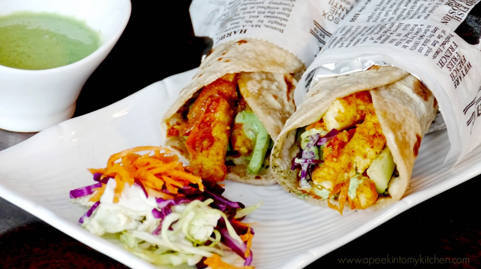 Kathi Rolls ~ Indian Flat Bread Rolls with vegetables and cottage cheese