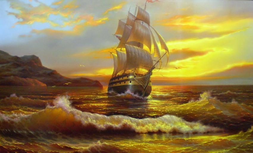 Cuadros pinturas oleos cuadros de paisajes marinos con - Cuadros de atardeceres ...