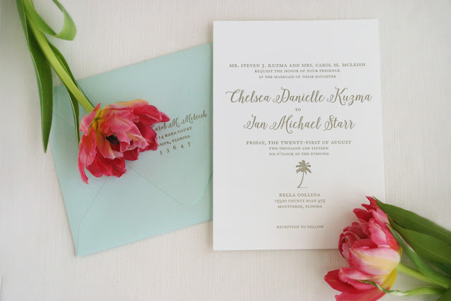 Beach Coastal Destination Wedding Invitations Aqua Gold Palm