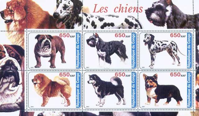 2003年コンゴ民主共和国 ブルドッグ シュナウザー ダルメシアン チャウ・チャウ 黒柴 ウェルシュ・コーギー・カーディガンの切手シート