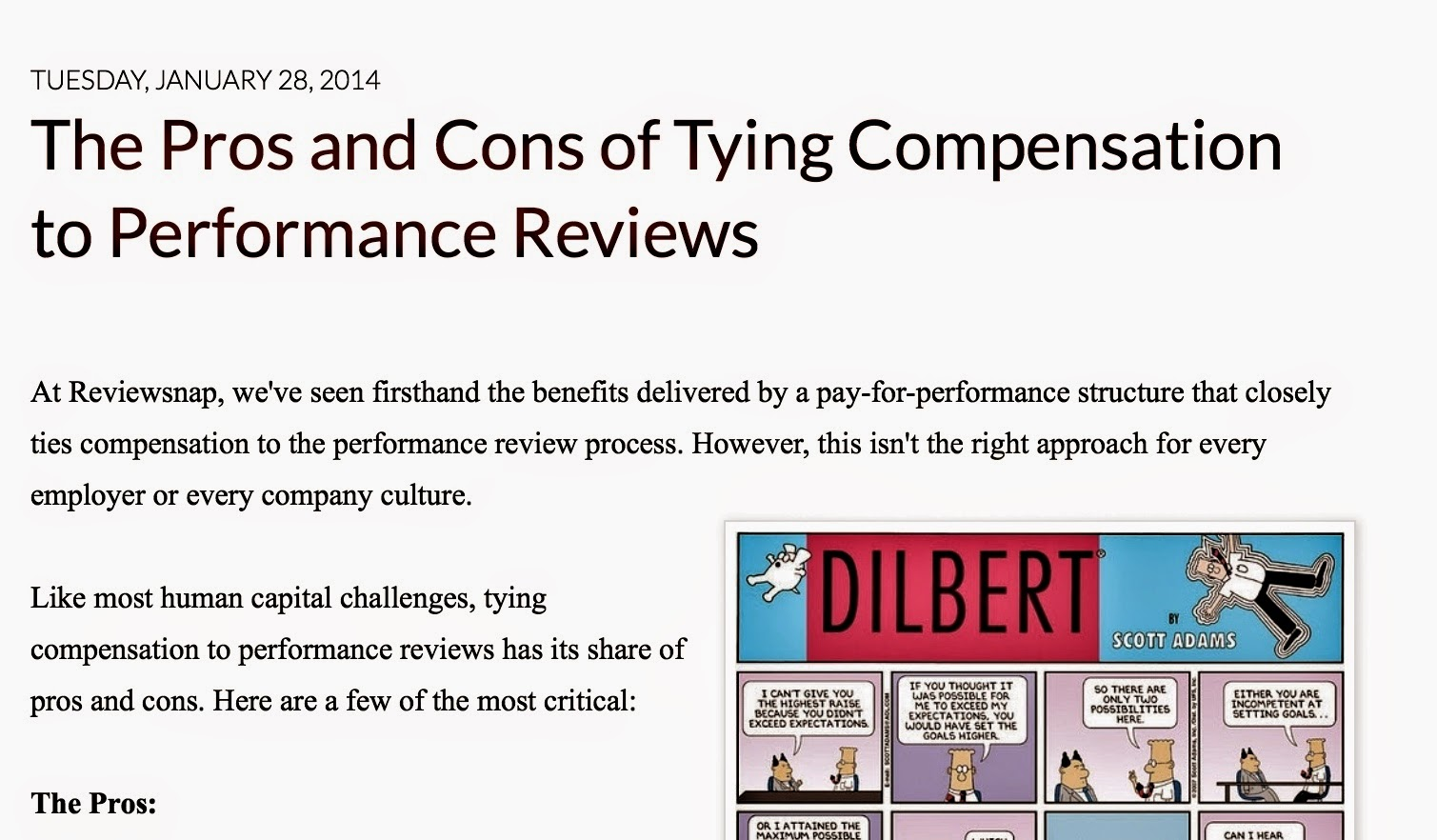 http://blog.reviewsnap.com/2014/01/the-pros-and-cons-of-tying-compensation.html