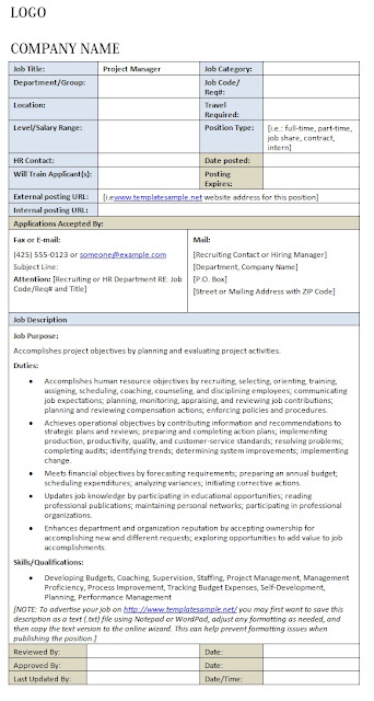 Marketing And Sales Manager Job Description Sample : Download Here. Area  Sales Manager Job Description Free PDF : Download Here. Project Manager Job  ...