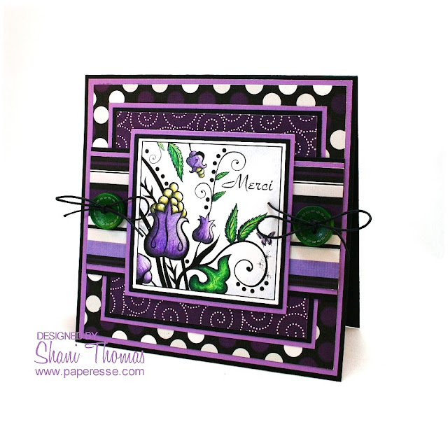 Bright purple Thank You card with For You Flower Bugaboo digital stamp.