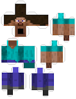 Papercraft Minecraft Steve template
