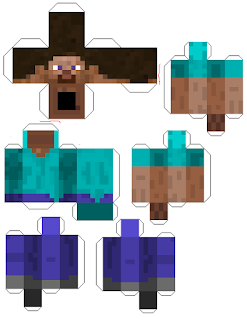 Minecraft papercraft printable character cut out Steve