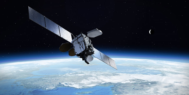A rendering of a Turksat satellite in orbit. Image Credit: Mitsubishi Electric