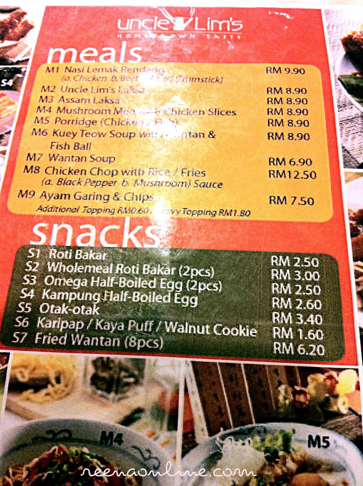Uncle Lim S Cafe Menu