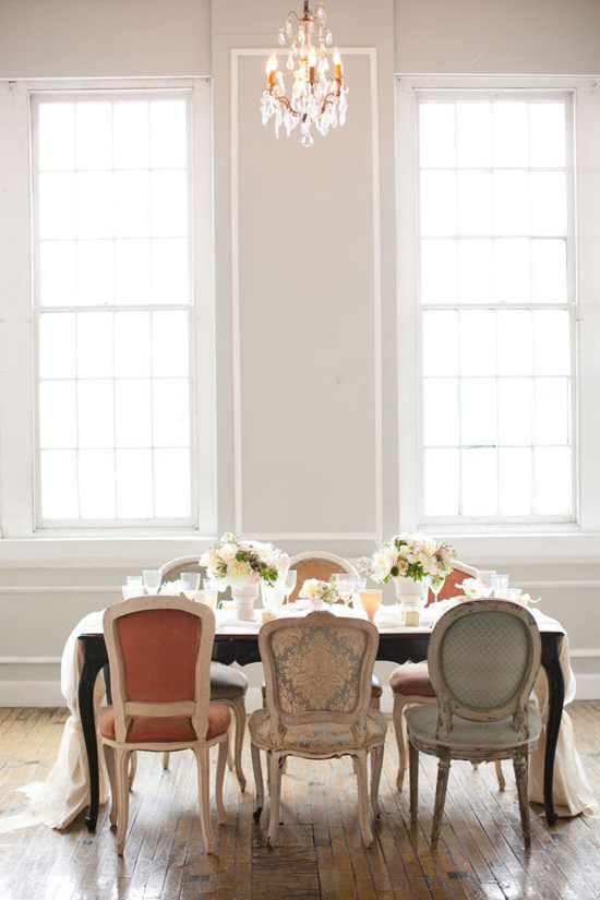 Pretty assorted upholstered dining chairs | Image by KT Merry via Style Me Pretty.