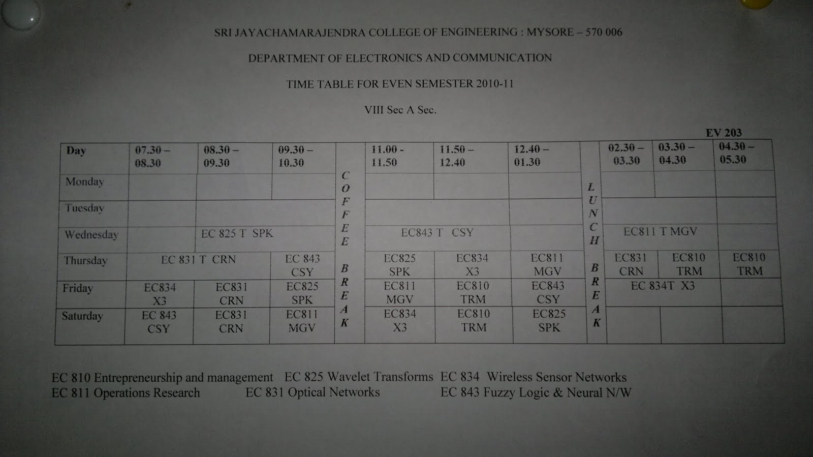 Ecbuddy revised time table for 8th sem ec a for Rgpv time table 8 th sem