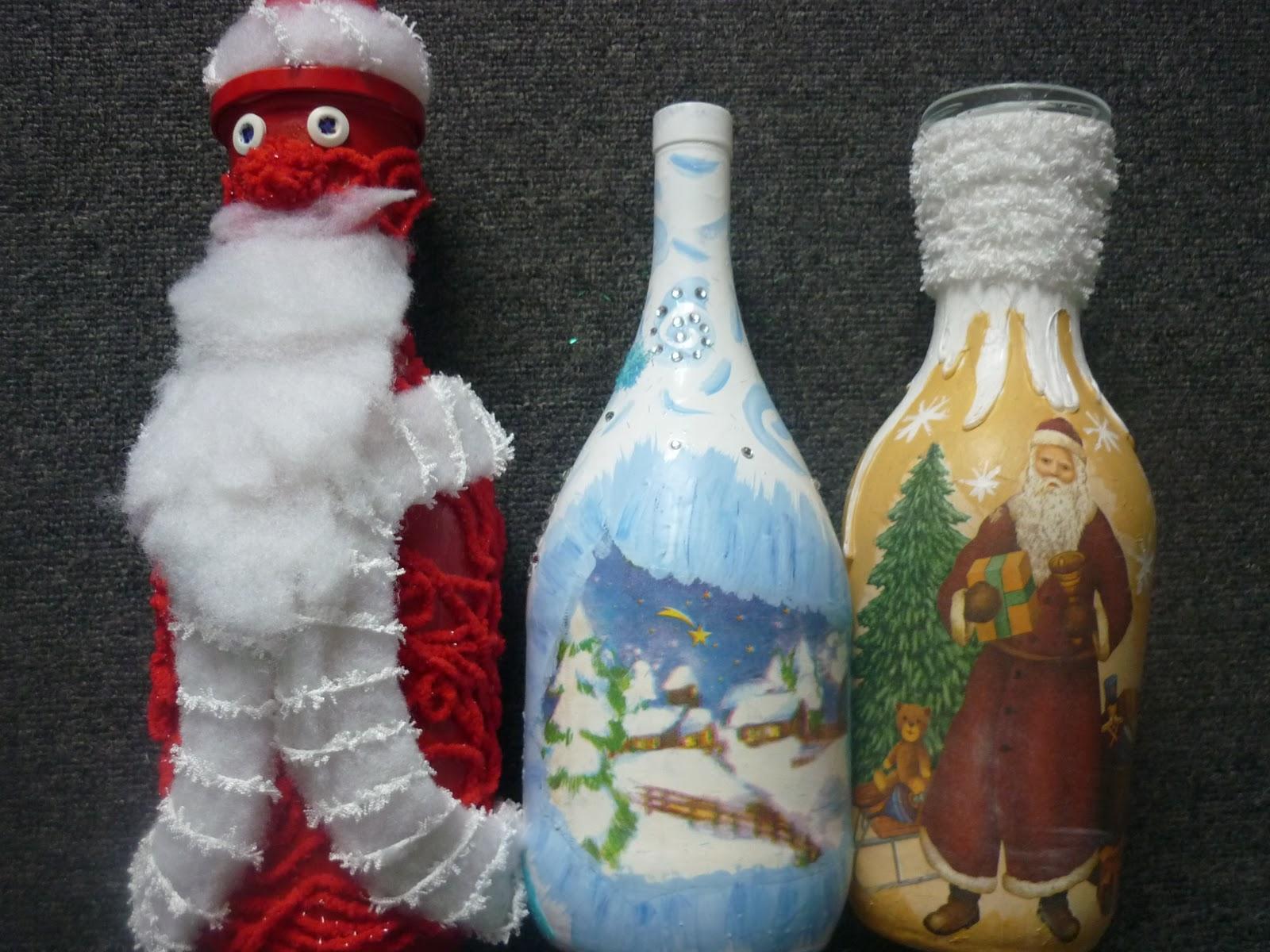 Декор бутылок своими руками на новый год