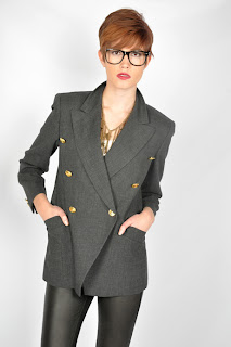 Vintage 1980's grey Escada blazer with gold buttons.