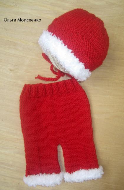 вязаные штанишки, новогодний костюмчик, новогоднее, костюм для фотосессии, штанишки на новорожденного
