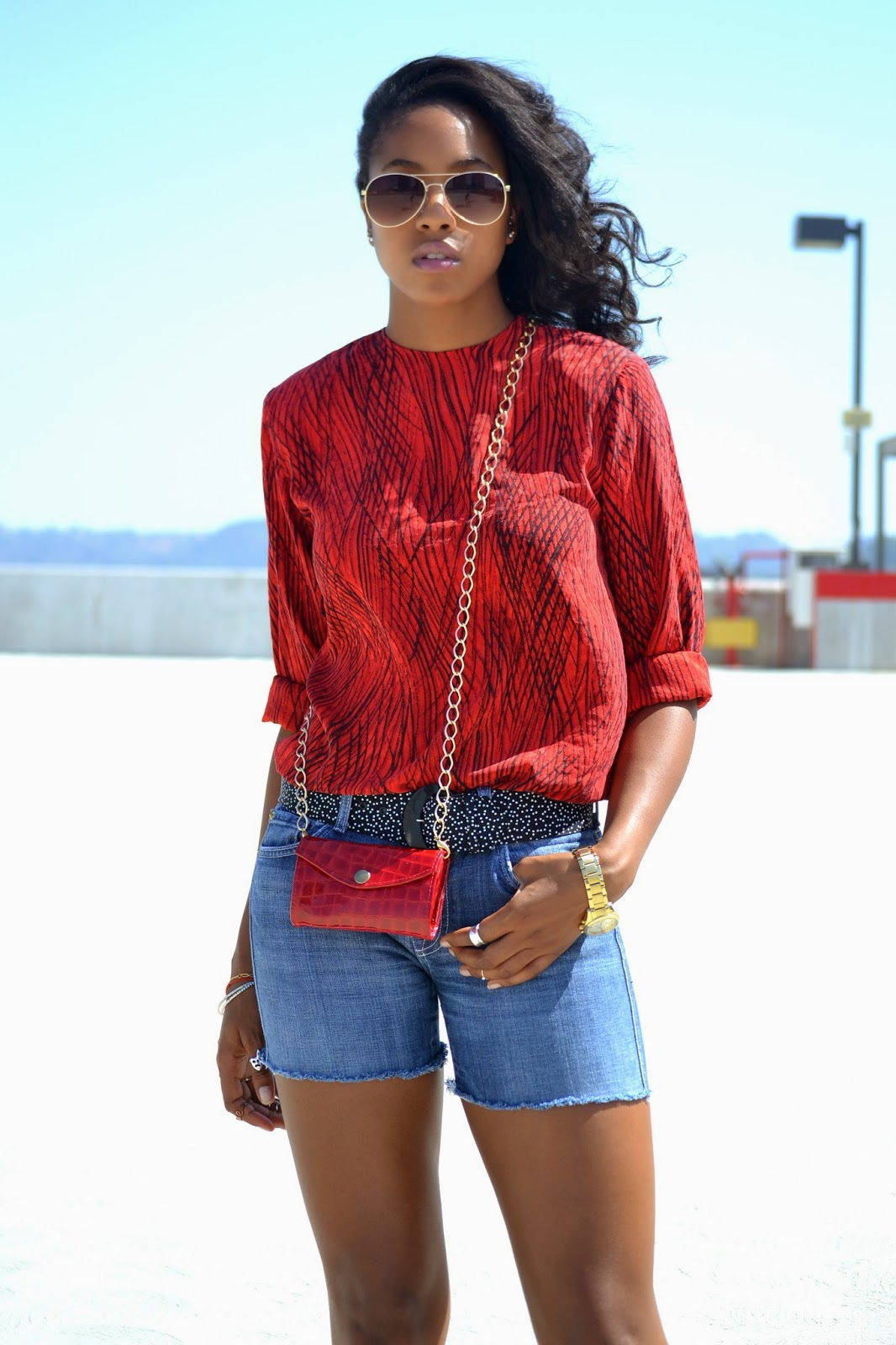 Wearing Red vintage top 7 For All Mankind denim cutoffs H&M sunglasses  Vintage Dotted belt