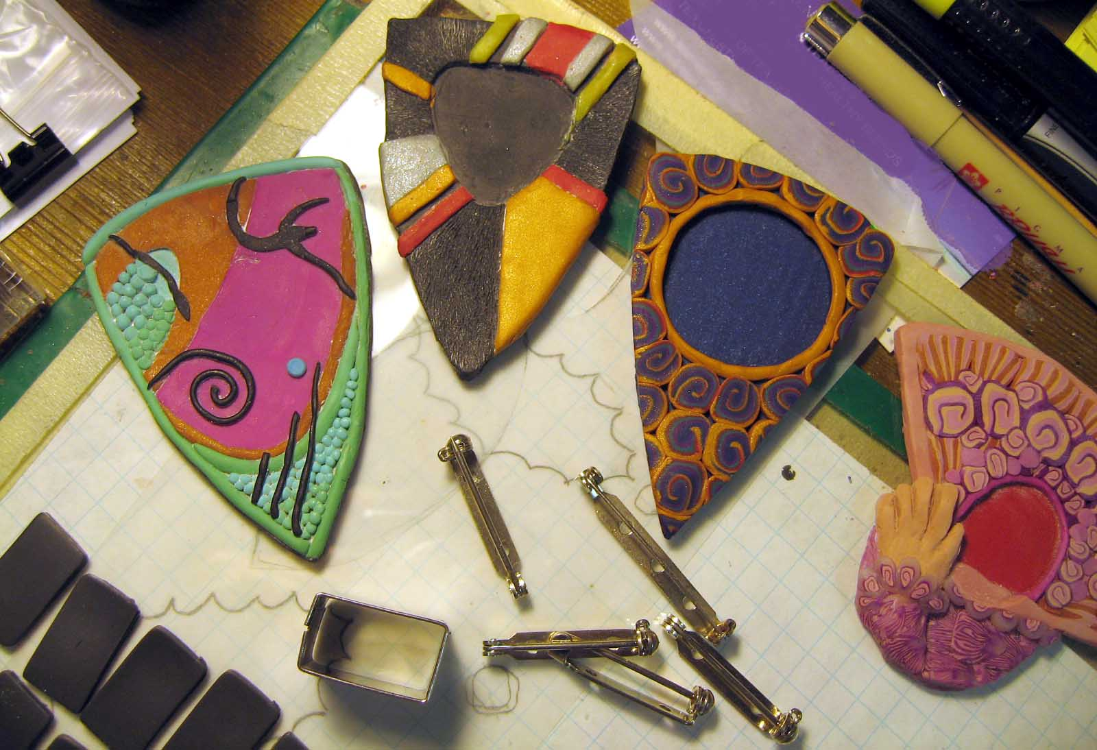 Artist At Work: Finishing Polymer Pins: February 6, 2012