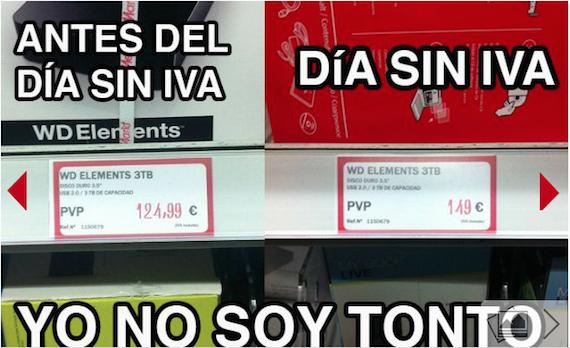 Publicidad engañosa. El día sin IVA en Media Markt. Compra de artículos en una tienda, reclamación y devolución de dinero.