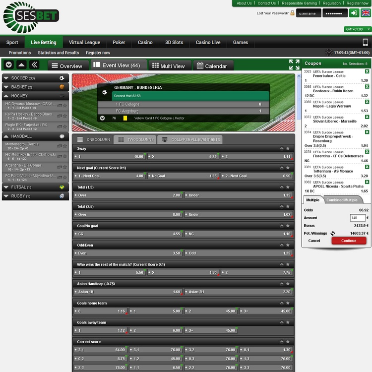 Sesbet Live Betting Offers