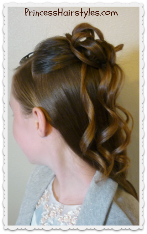 pretty half updo hairstyle with curls