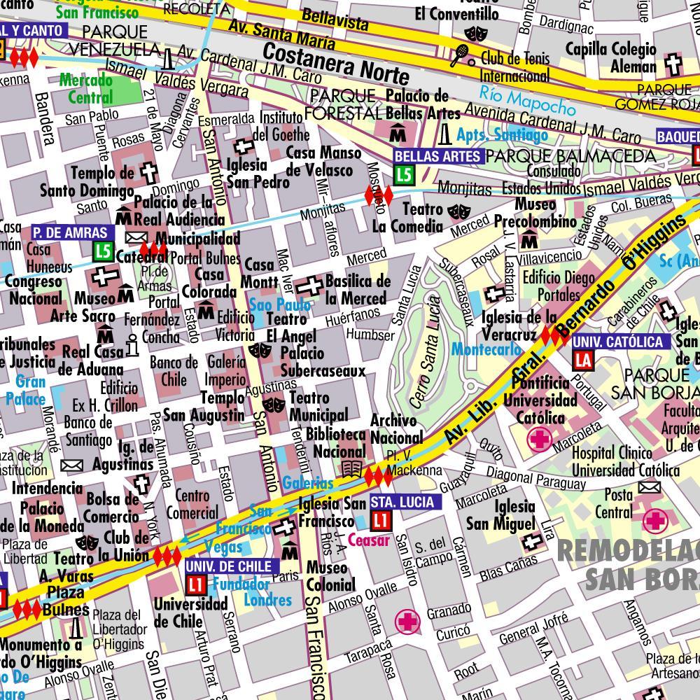 Mapas de santiago chile mapasblog for Calles de santiago de chile
