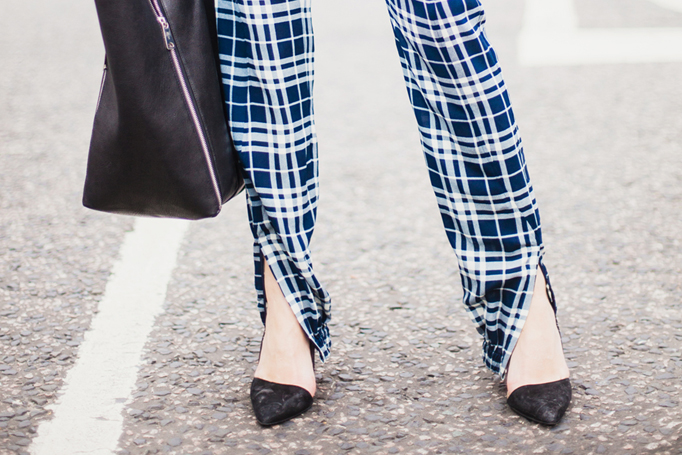 COTR | Joseph check pants front slit