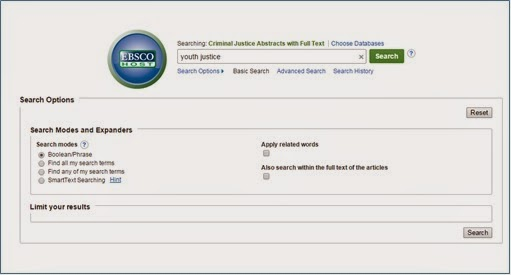 Criminal Justice Abstracts screen shot