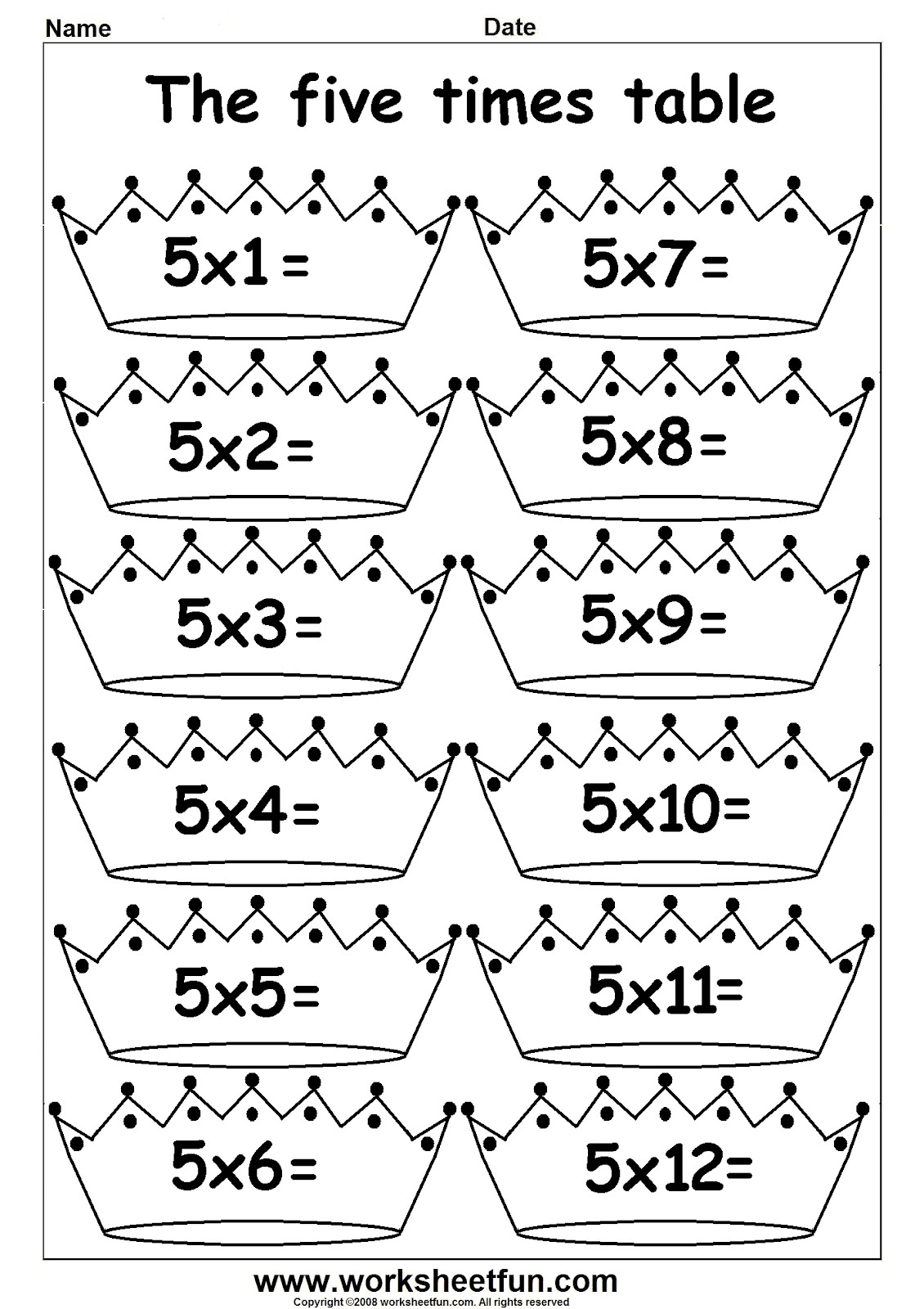 Arab Unity School | Grade 1 C | Blog: Maths - Multiply by 5 worksheets
