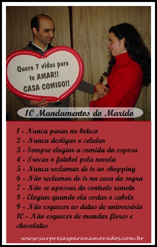 10 mandamentos do marido