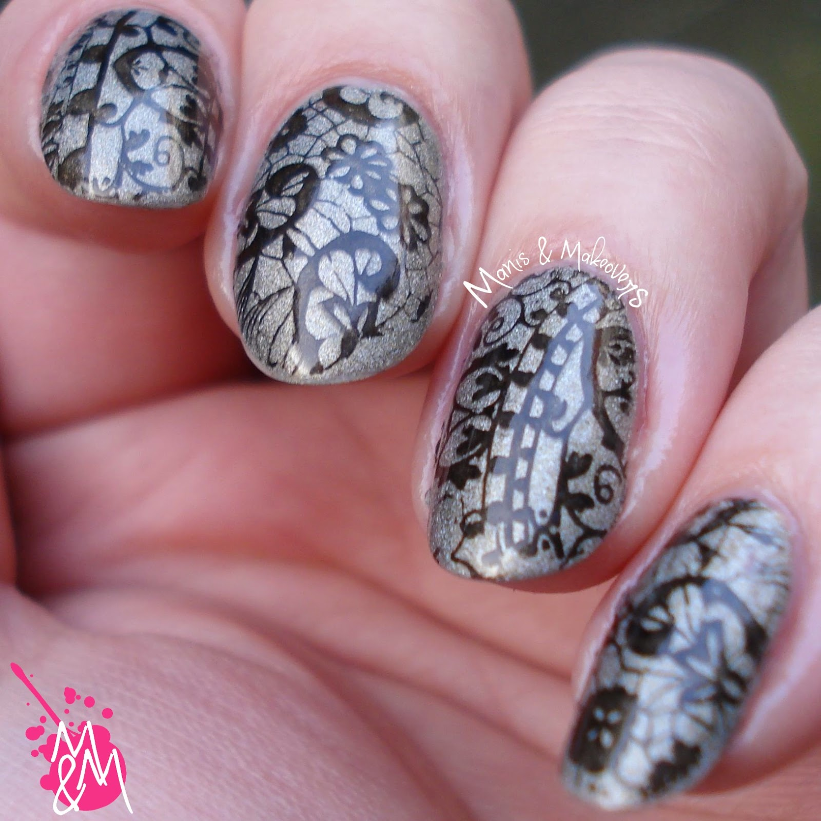 Manis makeovers bp 02 stamping bridal mani the base colour is el corazon active bio gel nail polish prisma 42321 and i stamped over it with black stampy polish from essence prinsesfo Image collections
