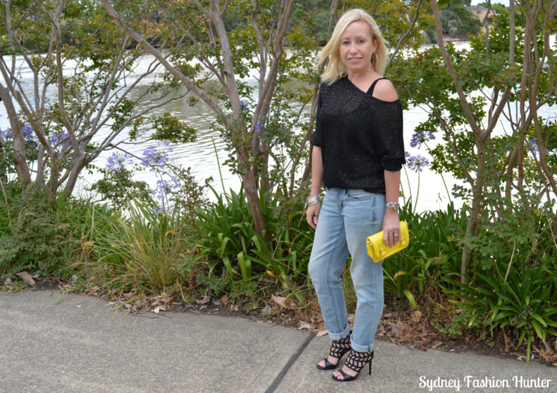 Boyfriend Jeans, Black Sequin Sweater & Gladiator Sandals